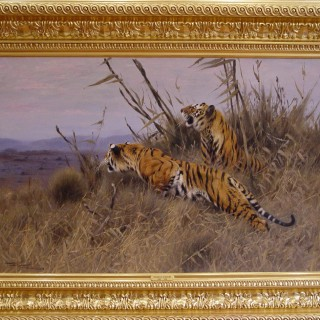 Wilhelm Kuhnert Tigers in the Savannah